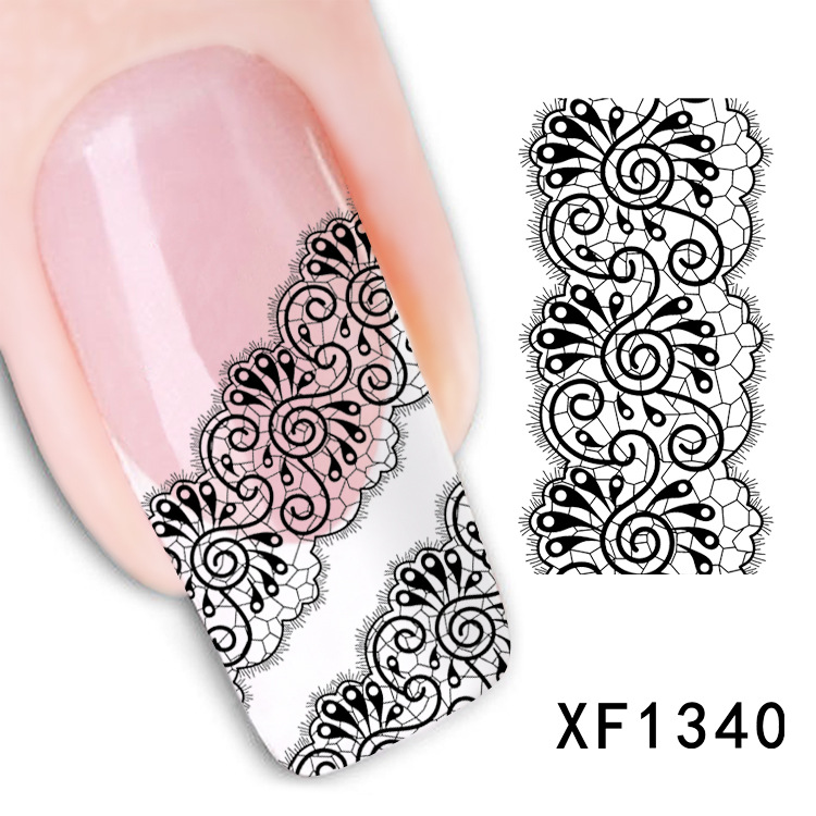 Drop Shipping New 3D Black Lace Flower Design Nail Art Stickers Decals For Nail Tips Decoration Tool  XF1340 цены