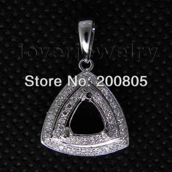 Vintage Trillion cut 6x6mm 18Kt White Gold Natural Diamond Semi Mount Pendant CA0055 - DISCOUNT ITEM  0% OFF All Category