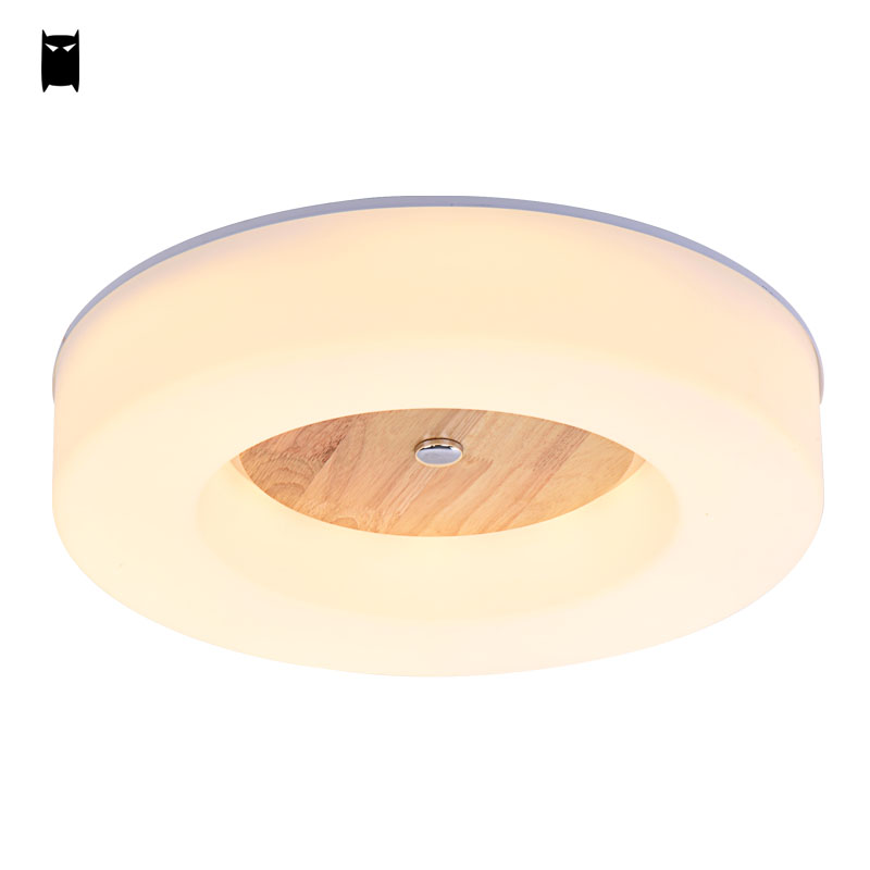 LED Wood Acrylic Round Ceiling Light Fixture Modern Style Flush Mount Plafon Plafonier Lamp Luminaria Foyer Bedroom Living Room