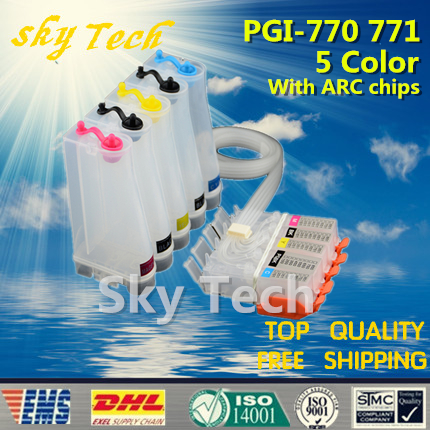 5 Color Empty CISS Suit for PGI770 CLI771, CISS suit for Canon PIXMA MG5770 MG6870 MG7770 etc , with ARC Chips