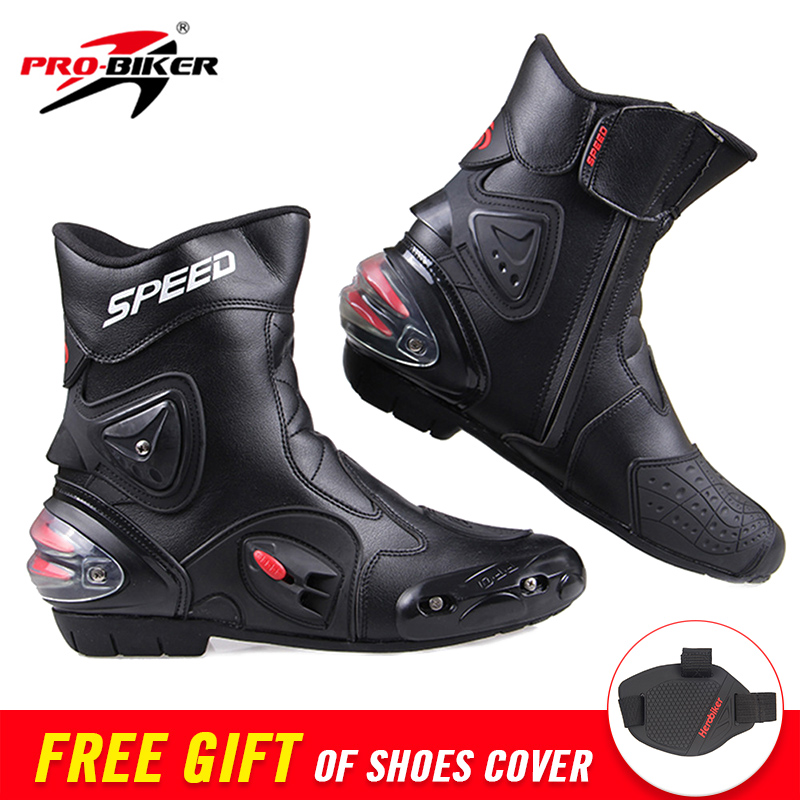 PRO-BIKER SPEED Ankle Joint Protection Motorcycle Boots Moto Shoes For Motorcycle Riding Racing Motocross Boots BLACK RED WHITE risk racing 00 110 black motocross grip donuts with blister protection