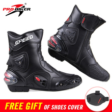 PRO-BIKER SPEED Ankle Joint Protection Motorcycle Boots Moto Shoes For Motorcycle Riding Racing Motocross Boots BLACK RED WHITE