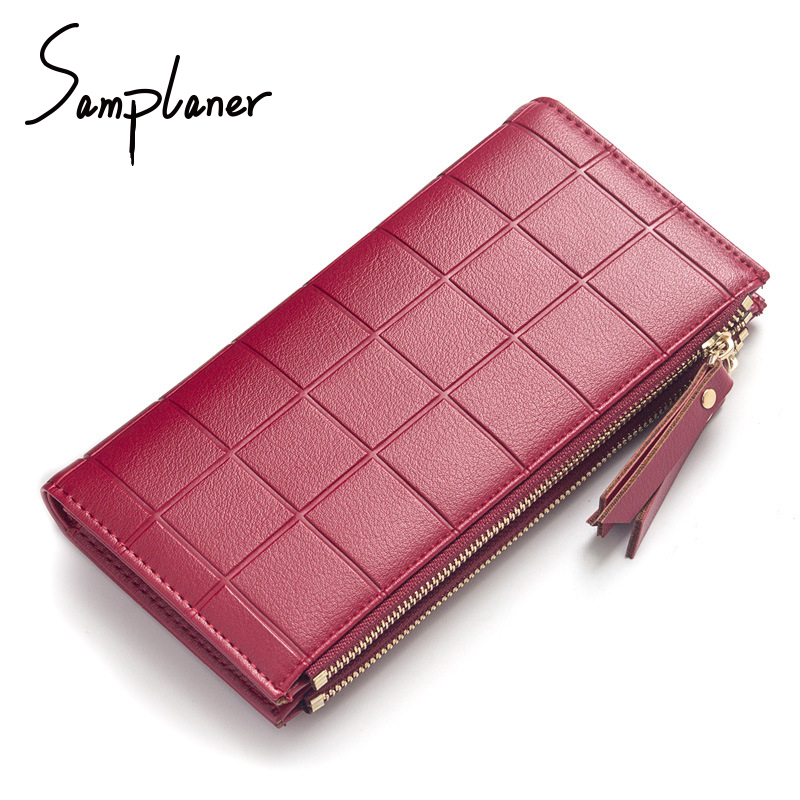 Samplaner Plaid Women Wallets Long Leather Double Zipper Girl Wallet Purse Hasp Lady Clutch Wallets 10 Card Holder Coin Purses nawo real genuine leather women wallets brand designer high quality 2017 coin card holder zipper long lady wallet purse clutch