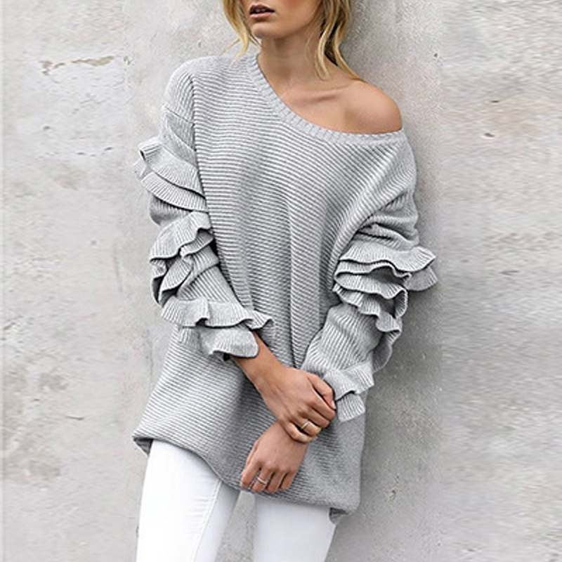 Afire Leaf Ladies Sweater 2019 New Winter Ruffled Sweaters Stable Shade Strapless Massive Neck Pullover O-Neck Sweater Truien Dames