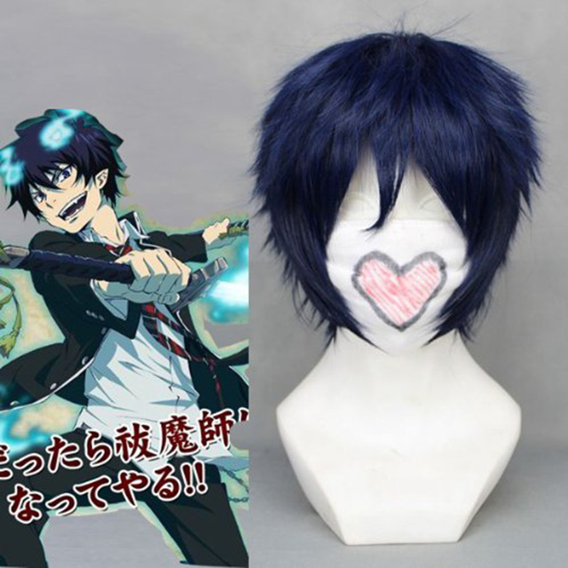 Ao no Blue Exorcist Okumura Rin Blue Short Heat Resistant Hair Perucas Cosplay Costume Wig + Free Wig Cap