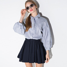Summer Navy Style Polo Collar Lantern Sleeve Stripe Shirt Sweet Bow Lacing Student Loose Fashion Slim Was Tops Wholesale