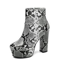 2019 New Ankle Boots Women Platform Shoes Soft Snake PU Leather Autumn Winter Ladies Boots Zip High Heel Botas Female(China)
