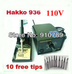 ESD Safe 110V  HAKKO 936 welding Station ,Solder Iron with A1321 Ceramic Heater+10 free solder tips,soldering/welding machine dhl free shipping hot sale 220v hakko fx 888 fx888 888 solder soldering iron station with 10 free tips 900m t