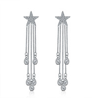 Fashion Star Luxury Copper Gold Color Stud Earrings Silver Needle AAA Zircon Long Women Earrings Fashion