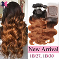 10A Mink Brazilian Hair With Closure Ombre Brazilian Hair Body Wave 3 Bundles Blonde Brazilian Hair Weave Bundles Human Hair