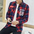 Couple Shirts Men Plaid Letter Printed Tops 2017 Spring Causal Lovers Women Long Sleeve Dress Shirts Slim Clothes Plus Size 5XL