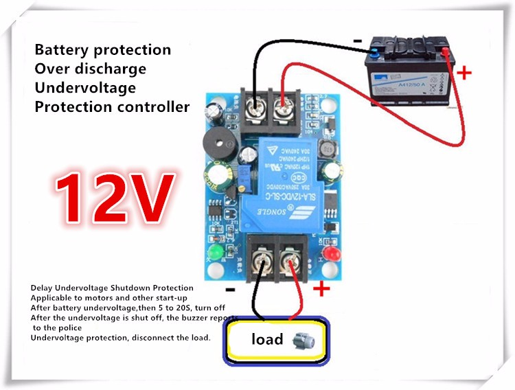 US $14 98 |2PCS 12V Battery Anti over release Controller delay Anti over  release Protection board Undervoltage Shutdown load sound DIY-in Home