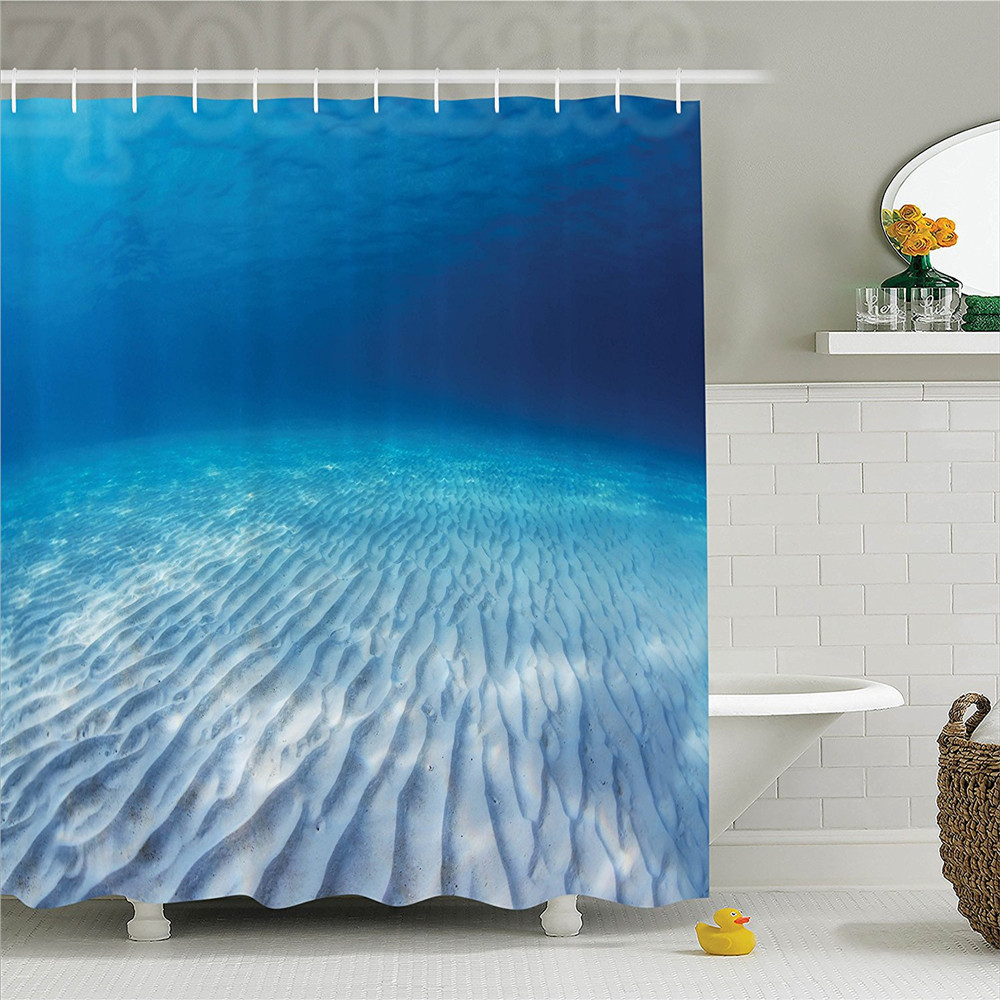 Ocean Decor Shower Curtain Set Underwater Shot of An Infinite Sandy Sea Bottom with Clear Water and Waves on Its Surface Bathroo