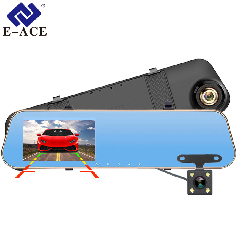 New Novatek 1080P Car Blue Rearview Mirror Camera Dvr Full HD Digital Video Recorder With Two Cameras Auto Dash Cam Black Box