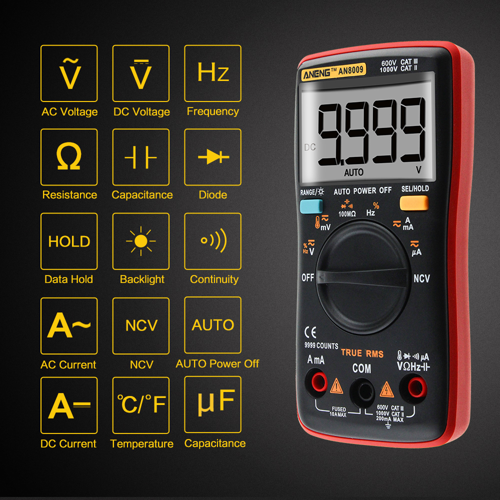 Digital Ammeter Voltmeter Auto Range Multimeter 9999 counts With Backlight AC/DC Ohm Transistor Tester multimeter AN8008 AN8009 auto digital multimeter 6000counts backlight ac dc ammeter voltmeter transform ohm frequency capacitance temperature meter xj23