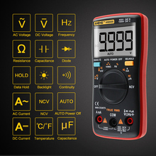 Digital Ammeter Voltmeter Auto Range Multimeter 9999 counts With Backlight AC/DC Ohm Transistor Tester multimeter AN8008 AN8009