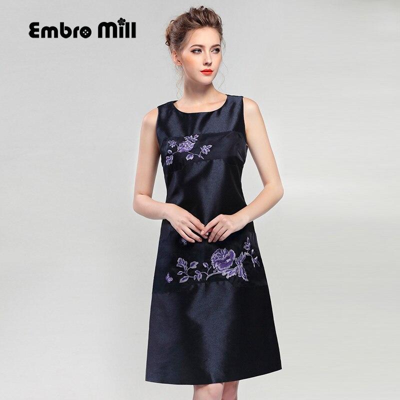 High-end luxury runway women vintage royal sleeveless dress autumn slim elegant A-line fashion blue silk party dresses M-XXL