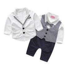 Gentleman bébé garçon vêtements blanc manteau + rayé barboteuses vêtements set nouveau-né costume de mariage