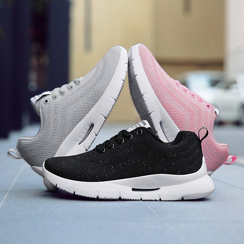 Fashion Comfortable Women Sneakers Light Air Mesh Spring autumn Shoes Solid Black gray pink Female Shoes Zapatillas Mujer Plus in Women 39 s Flats from Shoes