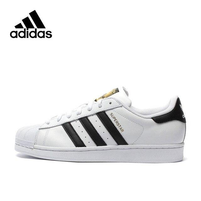 Original Adidas oficial superestrella trébol zapatos de mujer y de Hombre zapatillas deportivas diseño bajo C77124 tamaño de EUR U