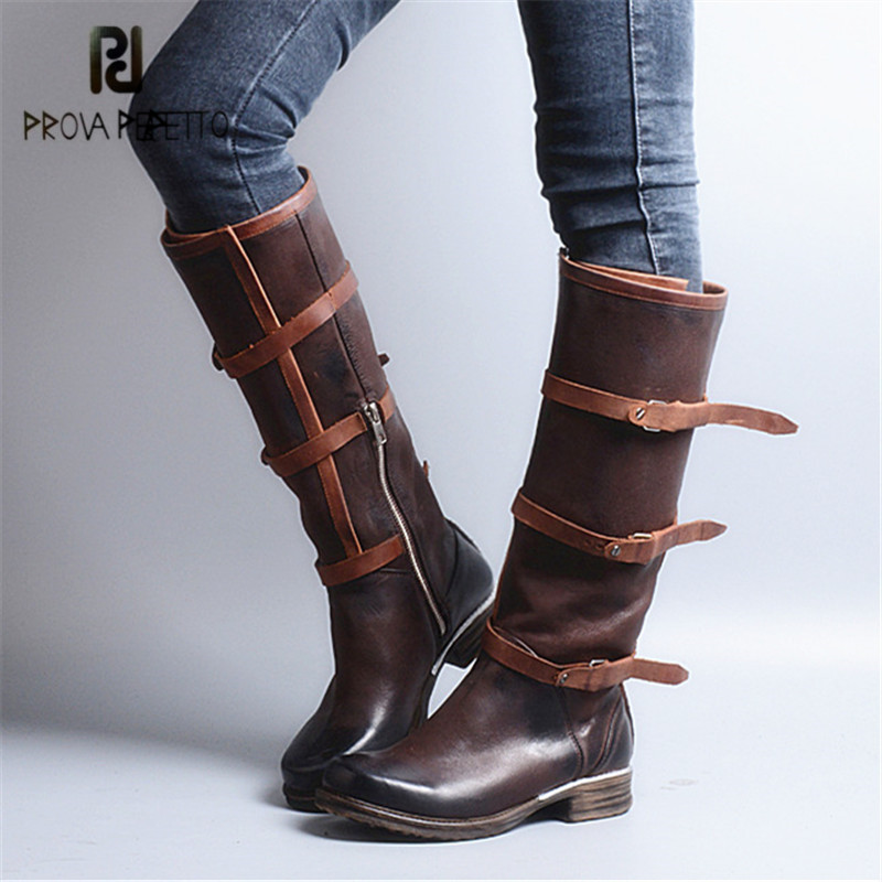Prova Perfetto Straps Genuine Leather Women Knee High Boots Fashion Martin Boots Flat Shoes Woman Platform High Botas Militares prova perfetto punk style women martin boots platform flat botas mujer straps buckles rubber shoes woman knee high boots