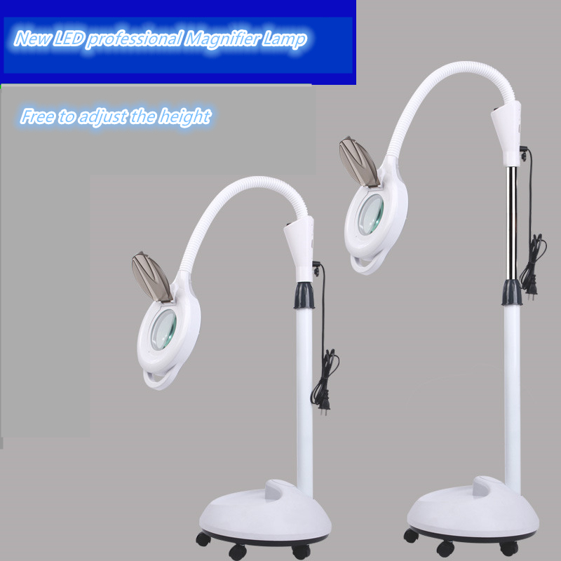 2018 High quality LED magnifying glass LED beauty light pattern embroidery lights Adjustable height LED magnifying glass