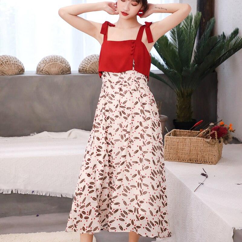 Robe en mousseline de soie florale Chic femmes été bretelles Spaghetti robes rouges femme Streetwear robe Midi