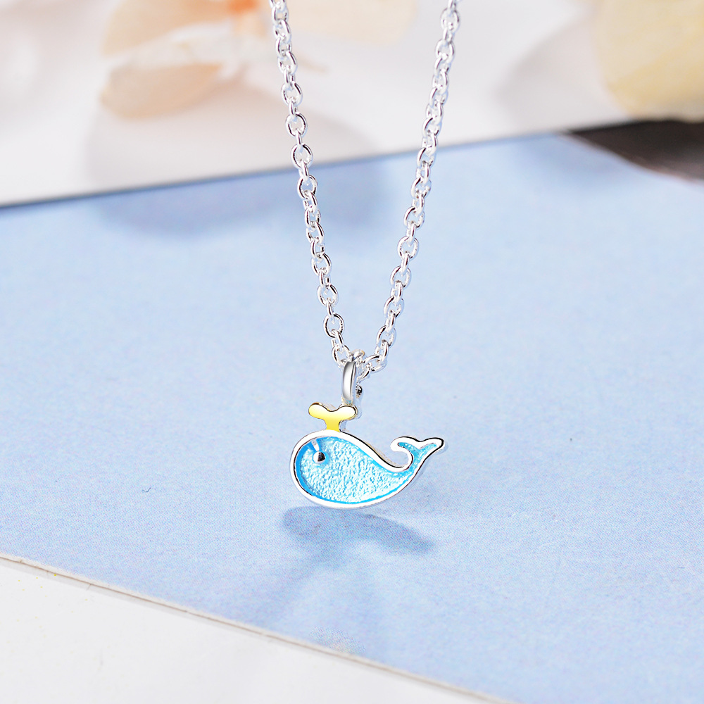 New arrivals fashion little blue Whale animal 925 sterling silver ladies pendant necklaces jewelry for women short link chain in Pendant Necklaces from Jewelry Accessories