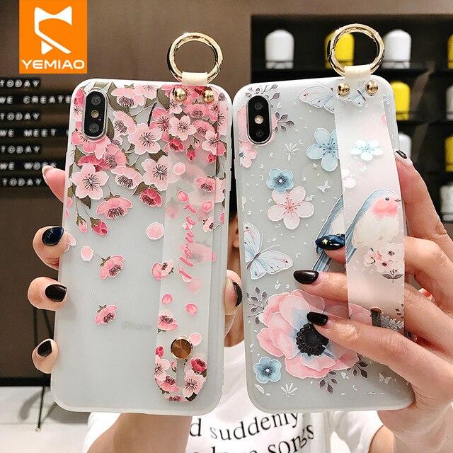 Caso Flor de Silicone Para o iphone Titular Da Pulseira XS Max XR X 10 3D Alívio 6 Modelada Capa Para iPhone S 7 8 6 S Mais Caso de Telefone