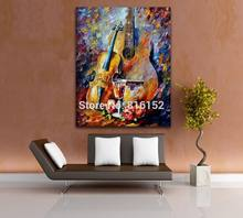 Palette Knife Printed On Canvas Painting Guitar Violin Red Wine Rose Picture for Home Living Room Bedroom Wall Decoration(China)