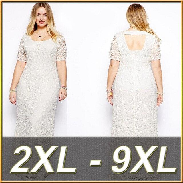 31edd4ffcc6f74 Plus Size Vrouwen Lange Kant Jurk Grote Maat Jurk Vestidos dames 9XL Wit  Backless Maxi Kleding