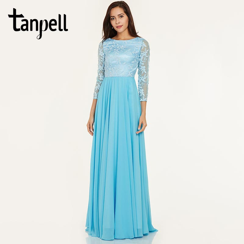 Tanpell long evening dress ice blue bateau neck full sleeves floor length a line gown cheap prom embroidery formal evening dress