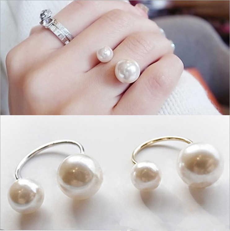 2018 สินค้าใหม่แฟชั่นแหวนสตรี Street Shoot อุปกรณ์เสริมไข่มุกเทียมขนาดเปิดแหวนปรับผู้หญิงเครื่องประดับ