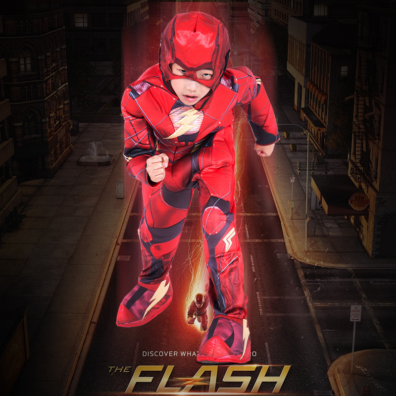 The Flash Season 5 Cosplay Costume Kids Boy's The Flash Jumpsuit Eye Mask Children's Superhero Halloween Carnival Party Costume