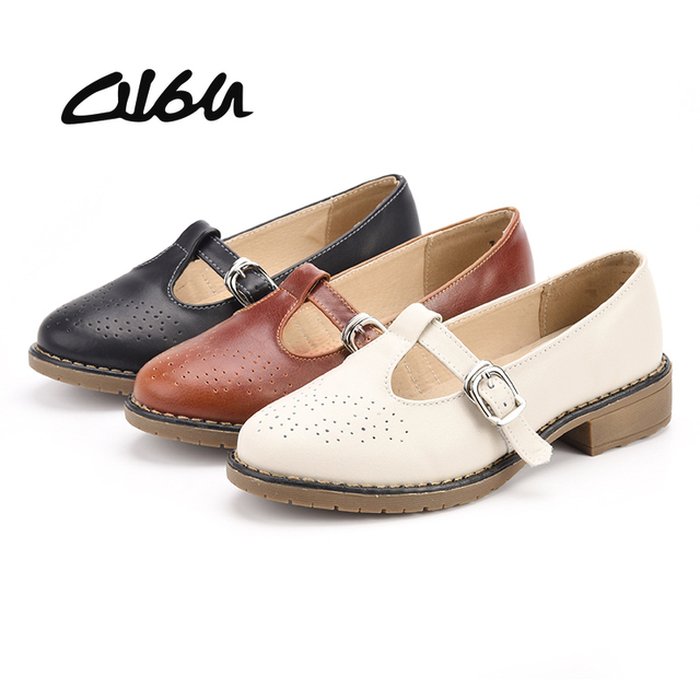 O16U Women Mary Jane shoes Brogue cut out Leather Buckle Strap Ladies point toe  oxfords ballet
