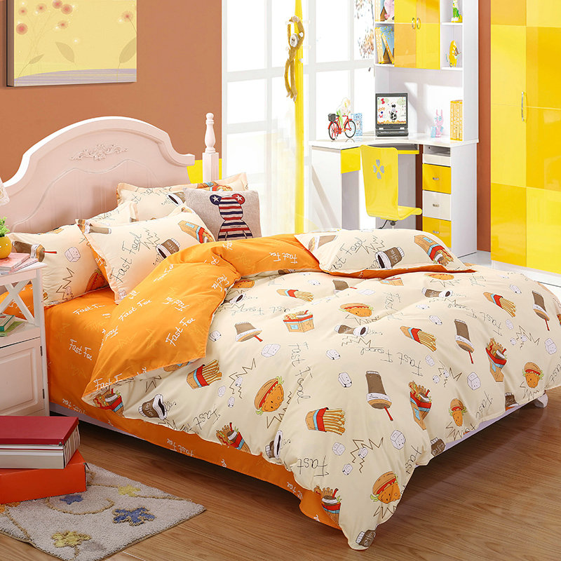 Stylish and comfortable breathable fried chicken chips printed pattern home textiles Quilt Cover + Bed Sheet+Pillowcase