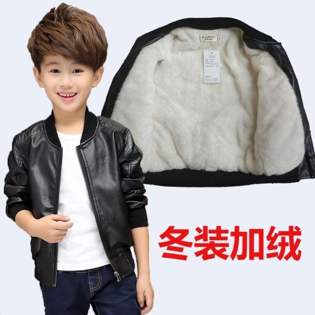 5d5bc1ebcb0b 2018 New Baby Leather Boy Jacket Fleece Jacket Boys Coats Manteau Garcon  Kids Jacket Black and Brown Color Children Jackets 4-16