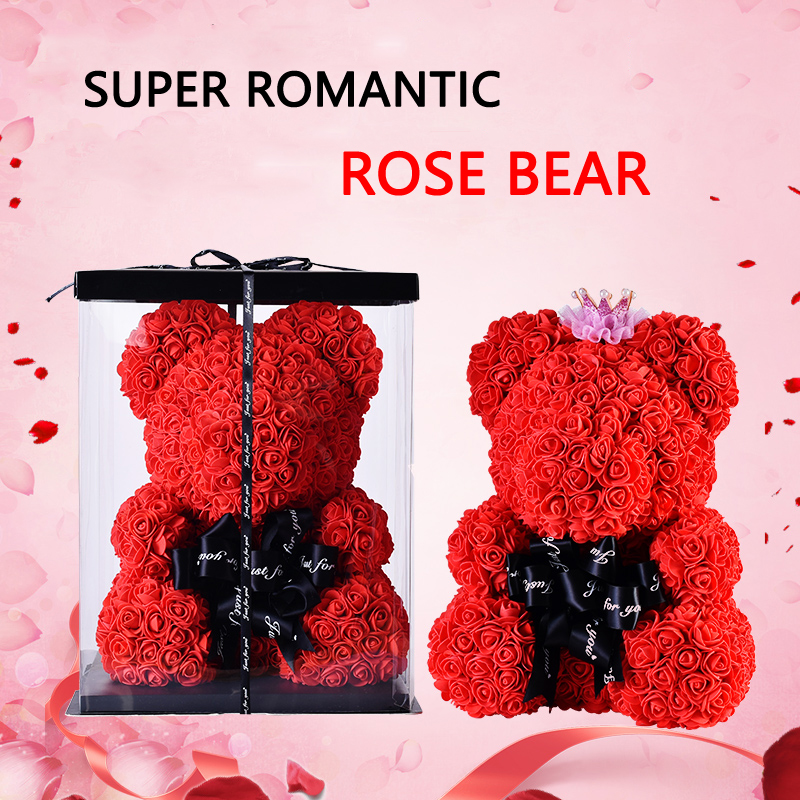 9631e9e46 YO CHO Dropshipping 25CM 40CM Flower Bear Valentine's Day Birthday Gifts  Wedding Decor Artificial Flowers Rose