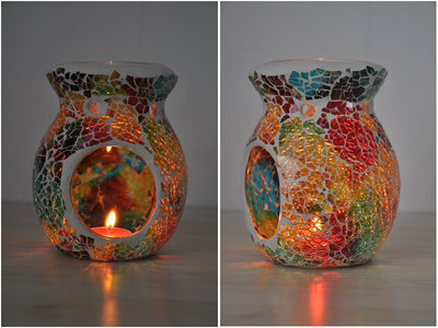 Mosaic Candle Aromatherapy Furnance Candle Warmer Tealight Candle Holders Mosaic Glass Oil Burner Mix Color Spa