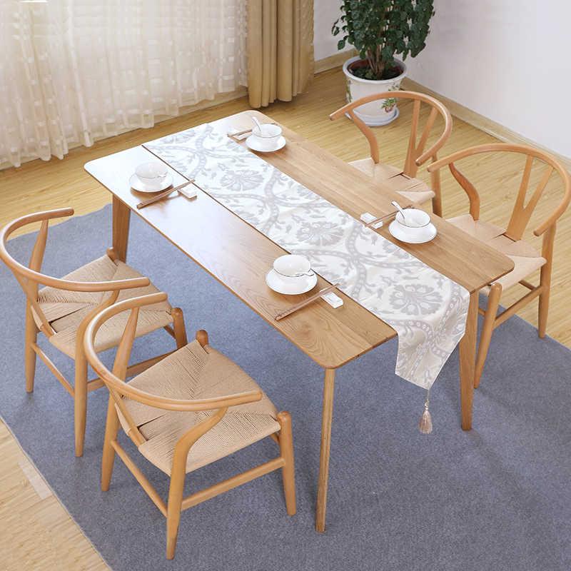 Nordic mesa e cadeira cadeira de jantar moderna casa simples Chinês poltrona de madeira maciça cadeira de encosto cadeira de madeira cera branca Y cha