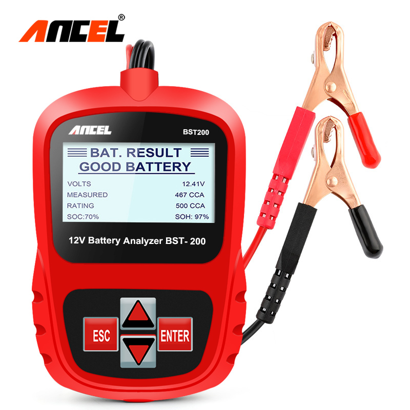 Ancel BST200 Car Battery Tester Multi Languages 12V Cell 100 1100CCA 30 100Ah Battery System Detect