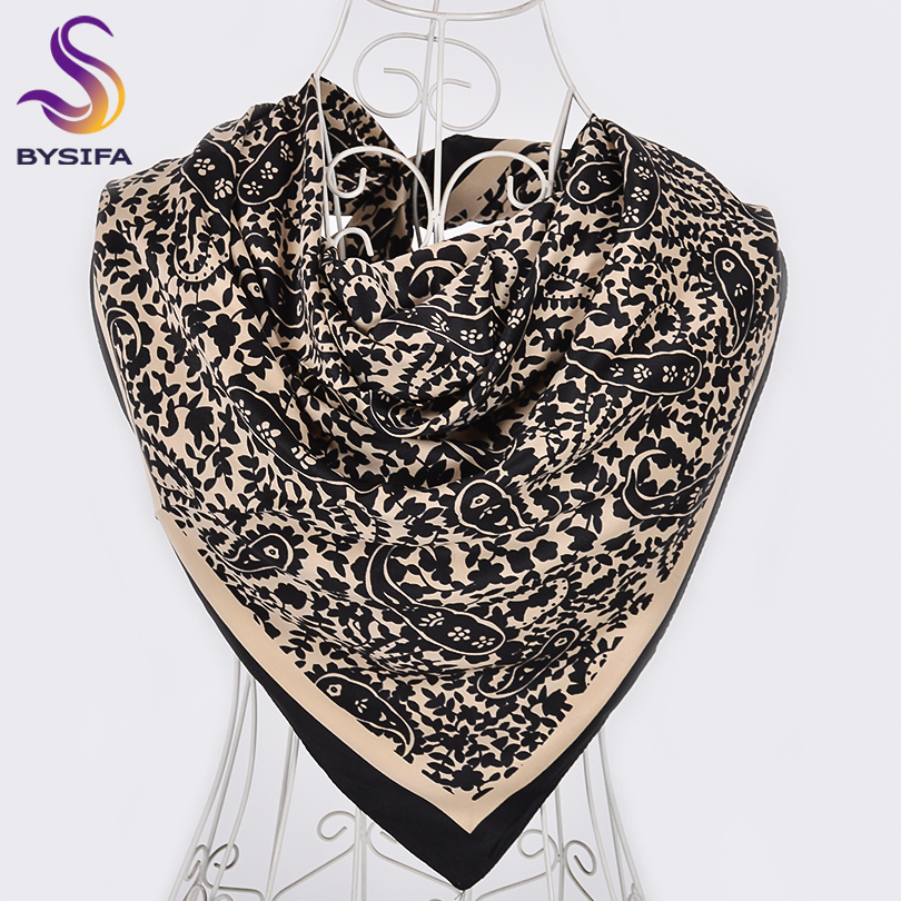[BYSIFA] Ladies Silk   Scarf   Shawl New Brand Black Beige Paisley Design Square   Scarves     Wraps   Women Neckerchief   Scarf   100*100cm