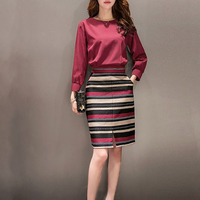 2016 Spring New Style Vestiti Donna Eleganti Pockets Charming And Natural Fashion 2 Piece Set Women Slim Top And Skirt