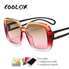COOLSIR Mixed Colors Oversized Women Sunglasses Square Brand Designer Fashion Gradient Sun Glasses Men shauna newest contrast color frame women sunglasses brand designer mixed color gradient square glasses