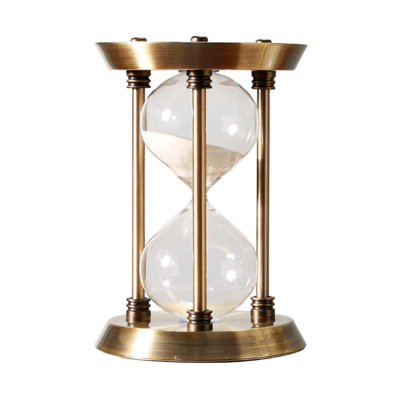 Retro Metal Timer Sand Clock Creative Desktop Crafts Glass Hourglass 15/30/60 Minutes Round Timing Home Interior Decoration Gift