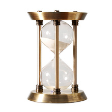 Retro Metal Timer Sand Clock Creative Desktop Crafts Glass Hourglass 15/30/60 Minutes Round Timing Home Interior Decoration Gift 60 minutes wooden base timing hourglass creative glass crafts home decoration