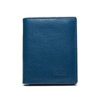 WEICHEN 2017 Men Wallets Luxury Leather Genuine Brand Famous Design Striped Blue Short Male Money Purse