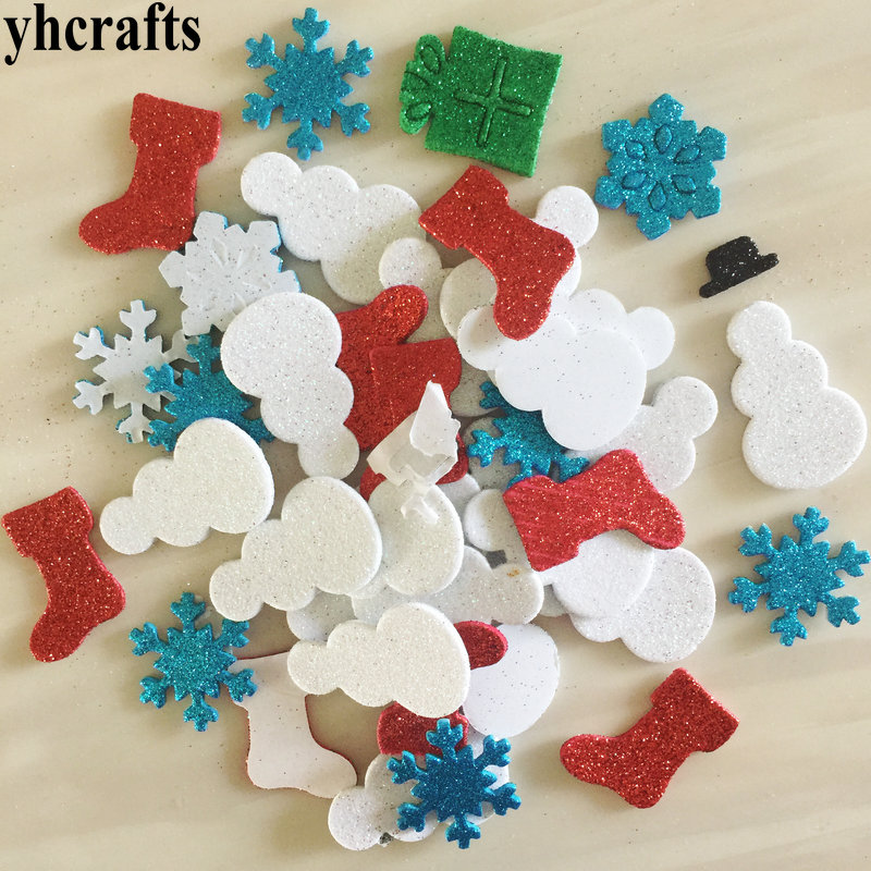 1bag/LOT,Snowflake snowman stock gift box glitter foam stickers Early learning educational craft diy toys Kids room ornament OEM