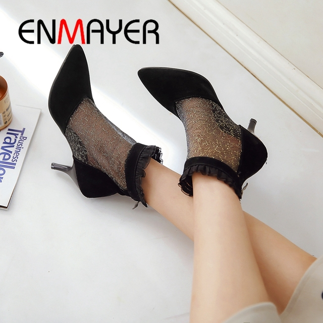 ENMAYER 2019 New Fashion  Flock  Ankle  Zip  Women Boots Spring/autumn  Pointed Toe  Basic Med High Shoes Size 34-43 LY1876