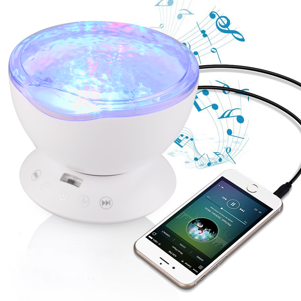 Jiaderui Baby Ocean Wave Starry Sky Projector LED Night Light Projector Luminaria Lamp USB Powered Kids Christmas Holiday Gifts